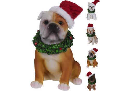 Koopman International Dog With Christmas Hat 13cm