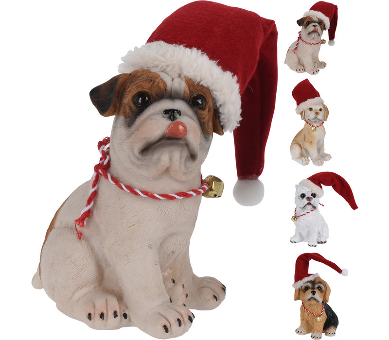 Dog With Christmas Hat 14cm