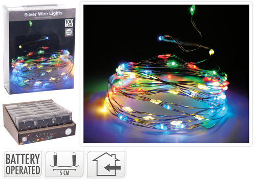 Koopman International Silver Wire 100L String Light Multi Colour