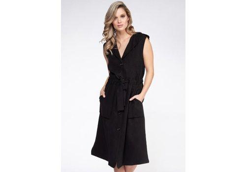 Black Tape Buttoned Waistcoat Dress