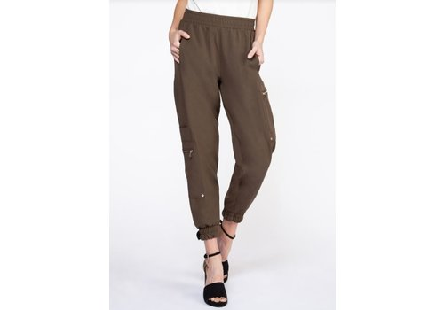 Black Tape Cargo Pant With Zip Detail