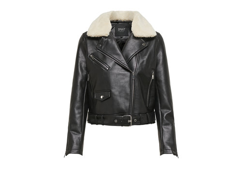 ONLY Hadley Teddy Faux Leather Biker Jacket
