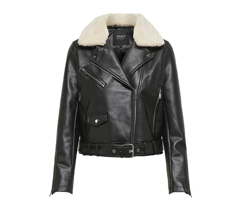 Hadley Teddy Faux Leather Biker Jacket