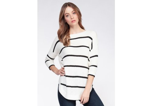 Dex Stripe Drop Shoulder Round Hem Sweater