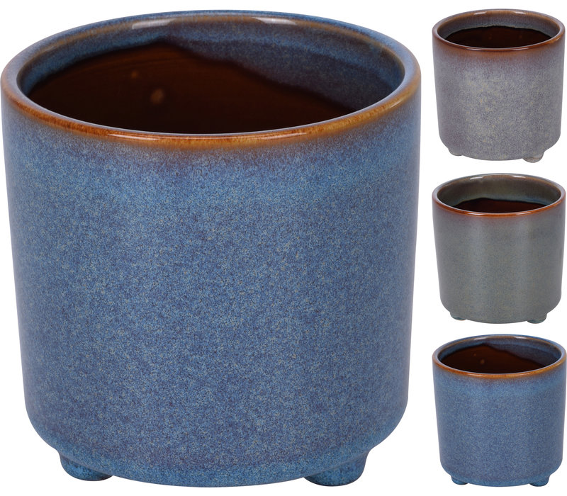 Flower Pot Reactive Glaze With Feet