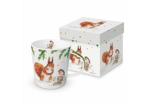 Mug In Gift Box Squirrel & Robin