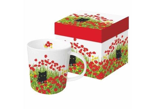 Mug In Gift Box Black Cat Poppies