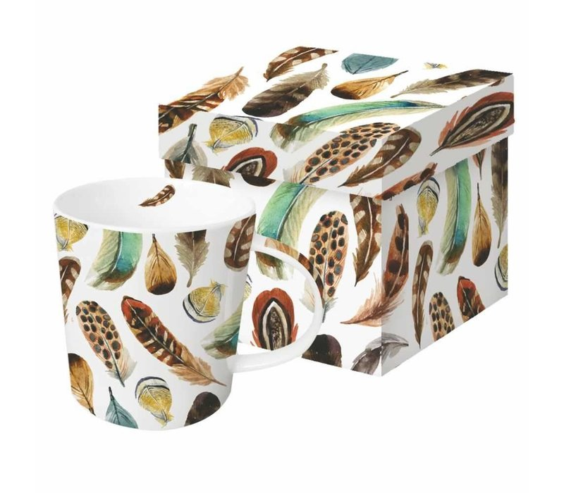 Mug In Gift Box Aquarell Feathers