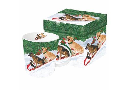 Mug In Gift Box Tobogganing Dogs