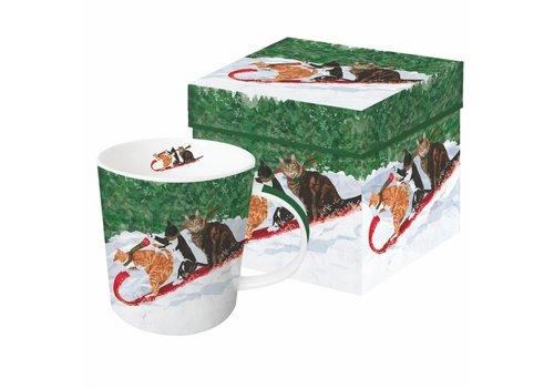 Mug In Gift Box Tobogganing Cats