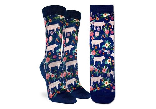 Good Luck Sock Women's Floral Pigs Socks