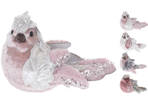 Koopman International Bird Sitting Pink 6cm