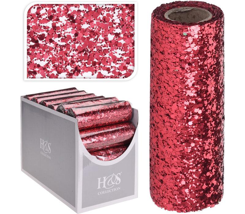 Decor Fabric Sequins Red 14x250cm