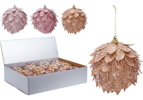 Koopman International Leaf Glitter Ornament Assorted