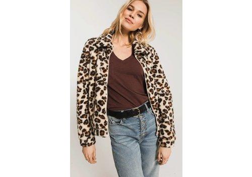 Z Supply Leopard Sherpa Crop Jacket