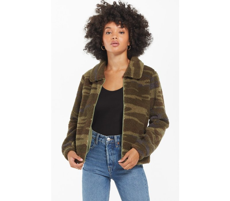 Camo Sherpa Crop Jacket
