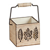 Hill's Imports Wood Copper Wash With Leaf Design