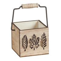 Wood Copper Wash With Leaf Design