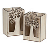 Hill's Imports Wood Tree Cutout Rectangle Pot