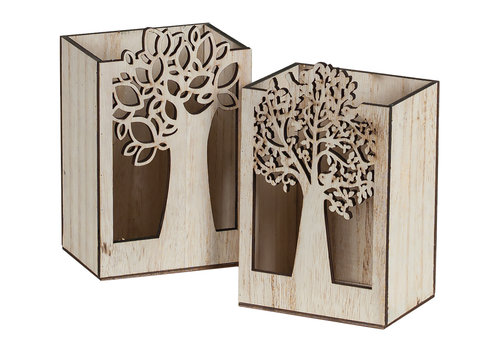 Hill's Imports Wood Tree Cutout Rectangle Pot