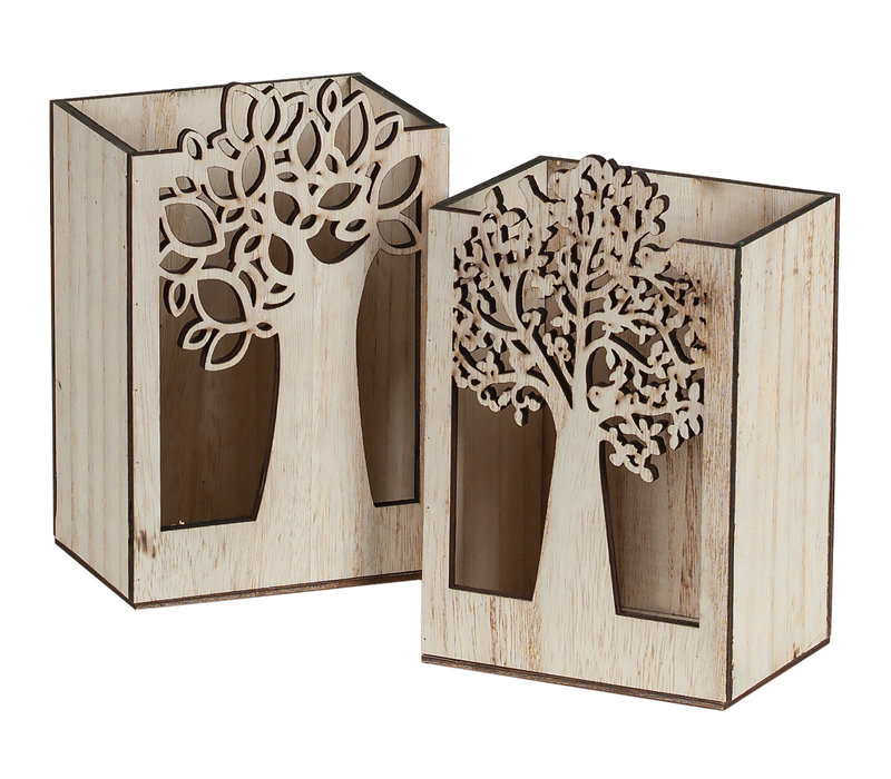 Wood Tree Cutout Rectangle Pot