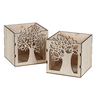 "Wood Tree Cutout Square Pot 4"""