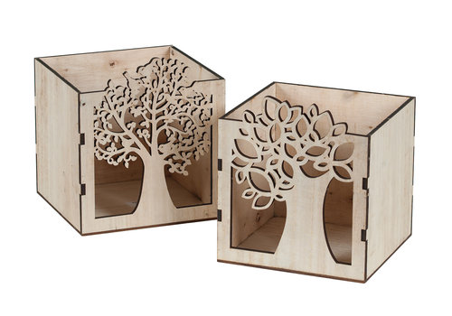 Hill's Imports Wood Tree Cutout Square Pot 4""