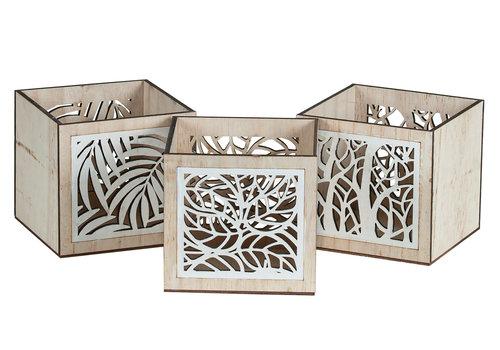 Hill's Imports Wood Leaf Square Pot