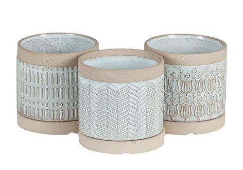 Hill's Imports White Design Round Pottery