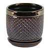 Hill's Imports Bronze Diamond Round Pot With Saucer