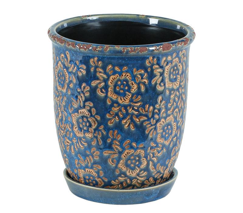 Marine Blue Round Flower Pot