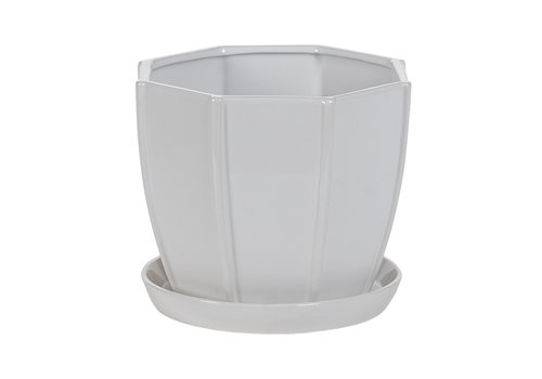 Hill's Imports Hexagon White Pot With Sacuer