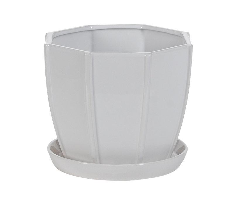 Hexagon White Pot With Sacuer