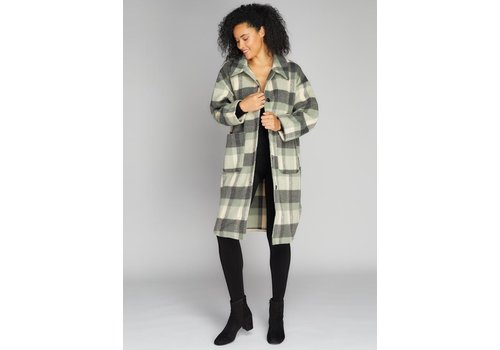 C'est Moi Button Down Long Plaid Coat