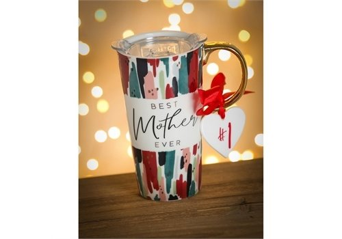 Cypress Home Ceramic Travel Cup With Ornament Best Mother Ever