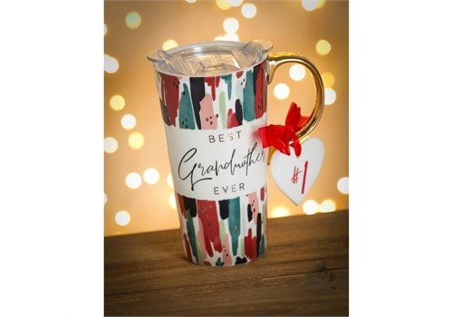 Cypress Home Best Grandma Ever Ceramic Travel Cup With Ornament