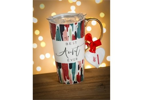 Cypress Home Ceramic Travel Cup With Ornament Best Aunt Ever