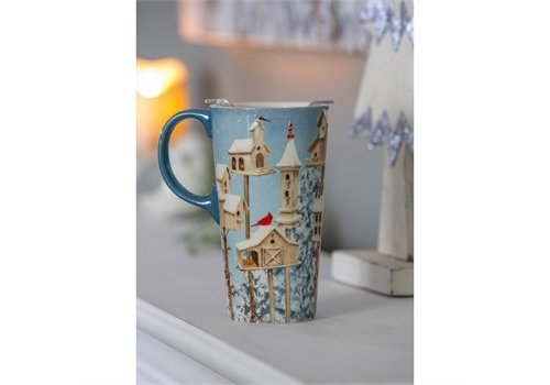 Cypress Home Ceramic Travel Cup White Holiday Birdhouses