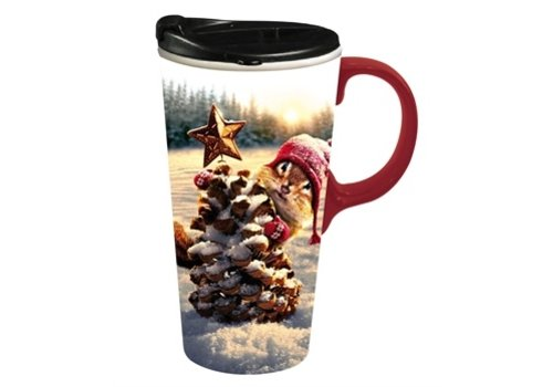 Cypress Home Ceramic Travel Cup Holiday Squirrel 17oz