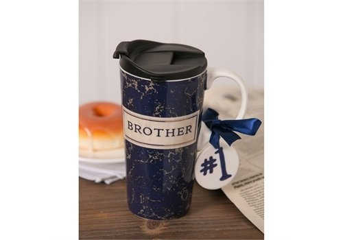Cypress Home Ceramic Travel Cup With Ornament Best Brother Ever