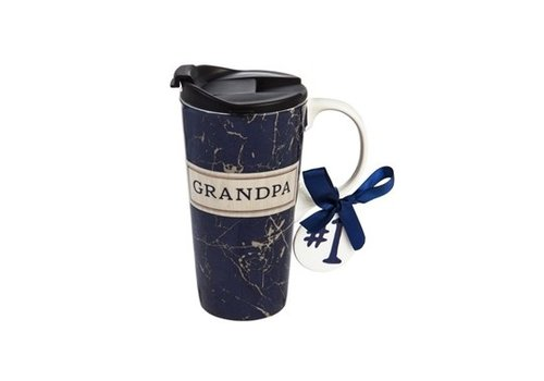 Cypress Home Ceramic Travel Cup With Ornament Best Grandpa