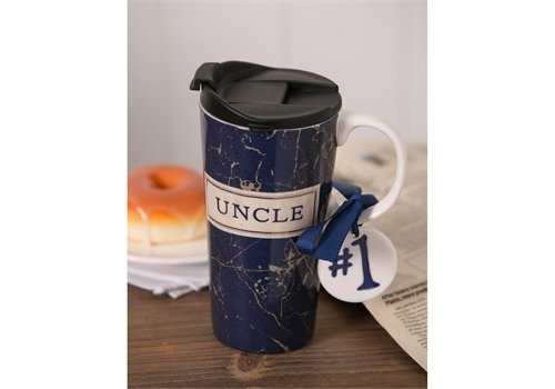 Cypress Home Best Uncle Ever Ceramic Travel Cup With Mini Ornament 17oz