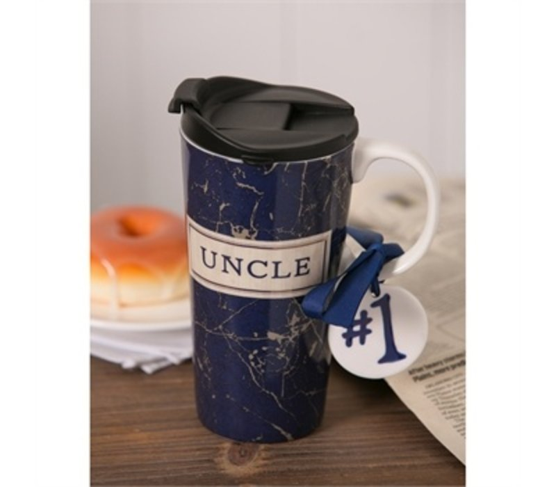 Ceramic Travel Cup With Ornament Best Uncle Ever