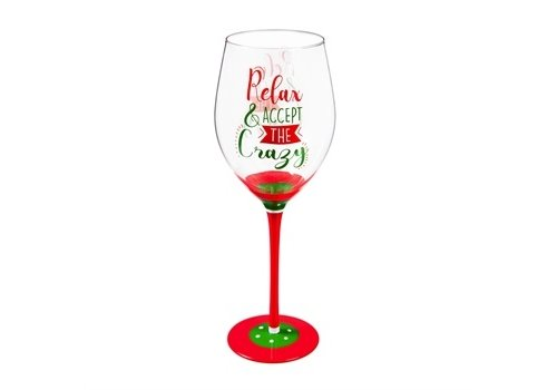 Cypress Home Wine Glass Relax & Accept the Crazy 12oz