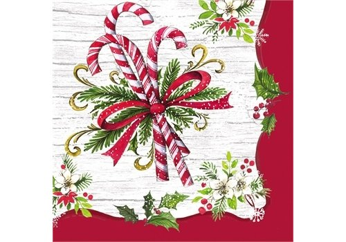Cypress Home Paper Cocktail Napkin Candy Cane