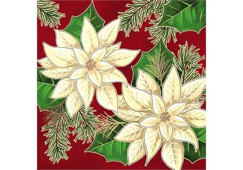 Cypress Home Metallic Paper Luncheon Napkin White Flowers