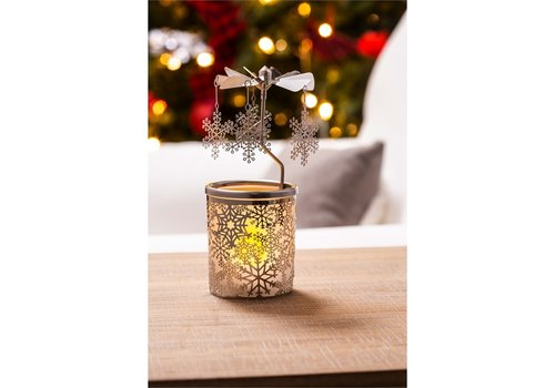 Cypress Home Rotary Votive Candle Holder Snowflake Scene