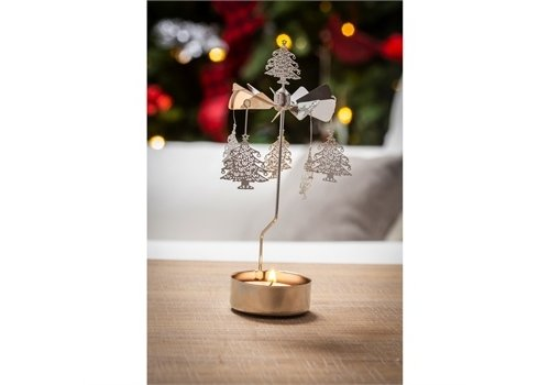 Cypress Home Rotary Tealight Candle Holder Christmas Trees