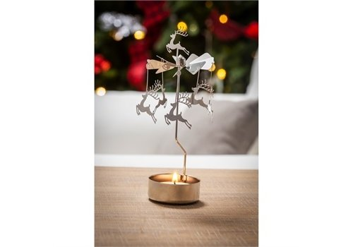Cypress Home Rotary Tealight Candle Holder Reindeers