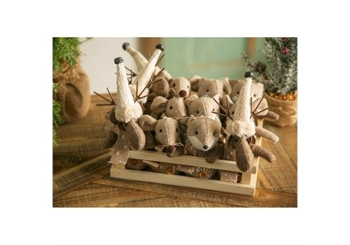 Cypress Home Fabric Animal Ornament in Wooden Tray